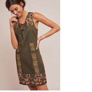 ANTHROPOLOGIE AVIS EMBROIDERED SHIFT DRESS new